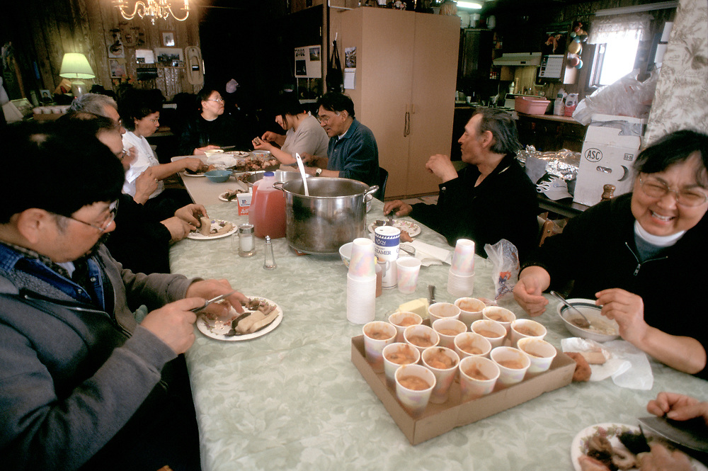 Barrow, Alaska, Every member of the community is invited round to the whaling captains house after a successful bowhead whale hunt to enjoy a feast of muktuk and whale meat