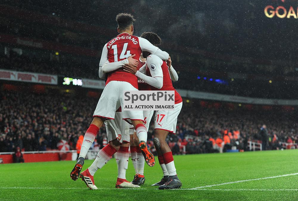 Pierre-Emerick Aubameyang of Arsenal celebrates with teammates after scoring his sides fourth goal during Arsenal vs Everton, Premier League, 03.02.18 (c) Harriet Lander | SportPix.org.uk