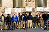 Roma, 10 Marzo  2015<br /> Manifestazione di migranti richiedenti asilo, ospiti del centro Metro Hotel, coinvolto nell' inchiesta Mafia Capitale, con gli attivisti della rete Resistenze Meticce, hanno protestato davanti la sede dello S.P.R.A.R.. (Sistema di protezione per richiedenti asilo e rifugiati) perchè il centro sta per essere chiuso. Gli immigrati se trasferiti fuori dal Comune di Roma, sarebbero costretti a ricominciare da capo la pratica per richiedere lo status di rifugiati.<br /> Rome, March 10, 2015<br /> Demostration of migrant asylum seekers, guests of Hotel Metro center, involved in investigation Mafia Capital, with activists of the network resistors mestizo, protested   outside the headquarters SPRAR (Protection System for asylum seekers and refugees) because the center is going to be closed. Immigrants if transferred out of the City of Rome, would be forced to start over the practice for request refugee status.