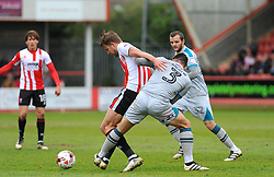 Danny Andrew of Grimsby Town competes with Harry Pell of Cheltenham Town  - Mandatory by-line: Nizaam Jones/JMP - 17/04/2017 - FOOTBALL - LCI Rail Stadium - Cheltenham, England - Cheltenham Town v Grimsby Town - Sky Bet League Two