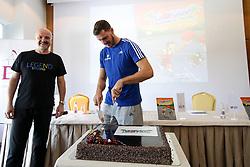 Primoz Suhodolcan and Goran Dragic at presentation of Goran Dragic and Primoz Suhodolcan book Goran, legenda of zmaju, on August 23 2017 in Radisson Blu Plaza, Ljubljana, Slovenia. Photo by Matic Klansek Velej / Sportida