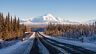 Scenic view of Wrangell Mountains from Glenn Highway near Glennallen in Interior Alaska. Winter. Afternoon.
