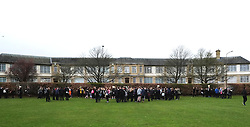 Pictured: Penicuik High School pupils and staff evacuated from the school.<br /> Day one of the Higher and Advanced Highers for Penicuik High School students was disturbed by a small fire in a class room. While minimal damage was doen and no injuries sustained, the school had to be evacuarted and checked by the fire service. There tenders attended the emergency.<br /> <br /> <br /> <br /> Ger Harley   EEm 5 May 2016