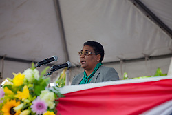 Caroline F. Fawkes, Supervisor of Elections, reads the certification of the senators.  St. Thomas Swearing-In Ceremony for the 32nd Legislature of the US Virgin Islands.  Emancipation Garden.  St. Thomas, VI.  9 January 2017.  © Aisha-Zakiya Boyd