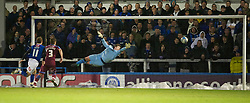 ROCHDALE, ENGLAND - Saturday, January 1, 2011: Tranmere Rovers' s goalkeeper Joe Collister makes a save against Rochdale during the Football League One match at Spotland Stadium. (Photo by Dave Kendall/Propaganda)