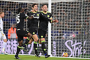 Chelsea defender Marcos Alonso (3) celebrates with Chelsea midfielder Victor Moses (15) and Chelsea defender Gary Cahill (24) after scoring a goal to make it scores a goal to make it 0-2 during the Premier League match between Leicester City and Chelsea at the King Power Stadium, Leicester, England on 14 January 2017. Photo by Jon Hobley.