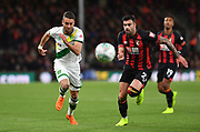 Norwich City defender Ivo Pinto (2) and Diego Rico (21) of AFC Bournemouth during the EFL Cup 4th round match between Bournemouth and Norwich City at the Vitality Stadium, Bournemouth, England on 30 October 2018.