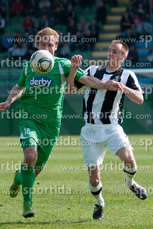Nikezic Nikola of NK Olimpija vs Marusko Matic of NK Mura during football match between NK Mura vs NK Olimpija of 26th Round of PrvaLiga, on March 25, 2012, in SRC Fazanerija, Murska Sobota, Slovenia. (Photo by Erik Kavas / Sportida.com)