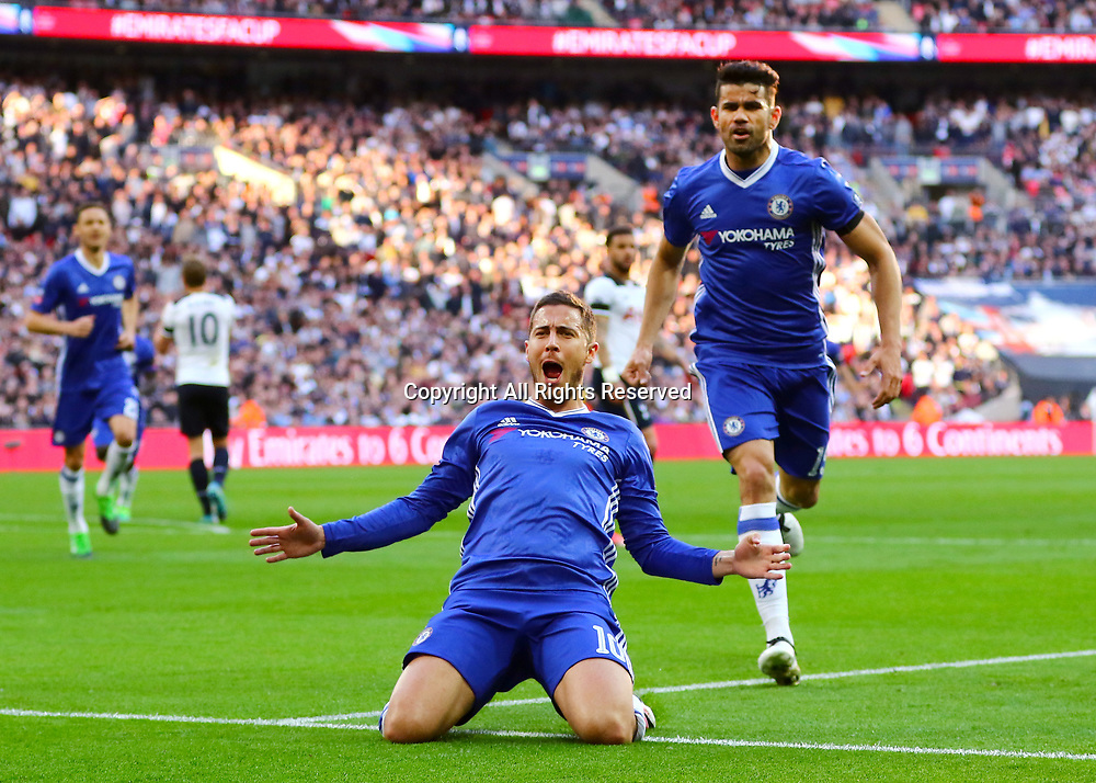 April 22nd 2017, Wembley Stadium, London England;  Emirates FA Cup semi-final Chelsea versus Tottenham Hotspur; Eden Hazard of Chelsea celebrates his 75th minute goal, 3-2 Chelsea