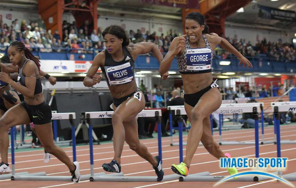 Feb 11, 2017; New York, NY, USA; Phylicia George (CAN) defeats Sharika Nelvis (USA) to win the women's 60m hurdles, 7.98 to 8.01, during the 110th Millrose Games at The Armory.