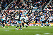 Sheffield Wednesday striker Fernando Forestieri hakes a header in the box during the Sky Bet Championship match between Derby County and Sheffield Wednesday at the iPro Stadium, Derby, England on 23 April 2016. Photo by Jon Hobley.