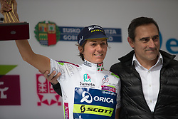 Katrin Garfoot (AUS) of Orica Scott Cycling Team is awarded the overall leader's white jersey after Stage 3 of the Emakumeen Bira - a 77.6 km road race, starting and finishing in Antzuola on May 19, 2017, in Basque Country, Spain. (Photo by Balint Hamvas/Velofocus)