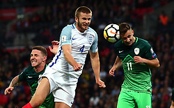 Eric Dier of England challenges for a header - Mandatory by-line: Robbie Stephenson/JMP - 05/10/2017 - FOOTBALL - Wembley Stadium - London, United Kingdom - England v Slovenia - World Cup qualifier