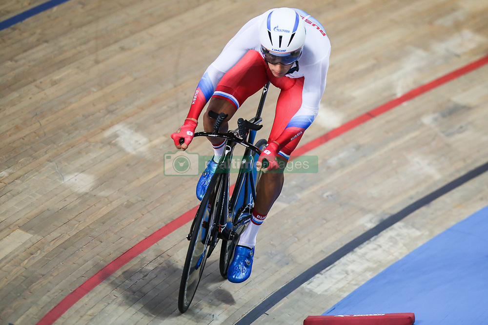 March 1, 2019 - Pruszkow, Poland - Alexander Evtushenko (RUS) competes in the Men's Individual Pursuit Qualifying race on day three of the UCI Track Cycling World Championships held in the BGZ BNP Paribas Velodrome Arena on March 01, 2019 in Pruszkow, Poland. (Credit Image: © Foto Olimpik/NurPhoto via ZUMA Press)