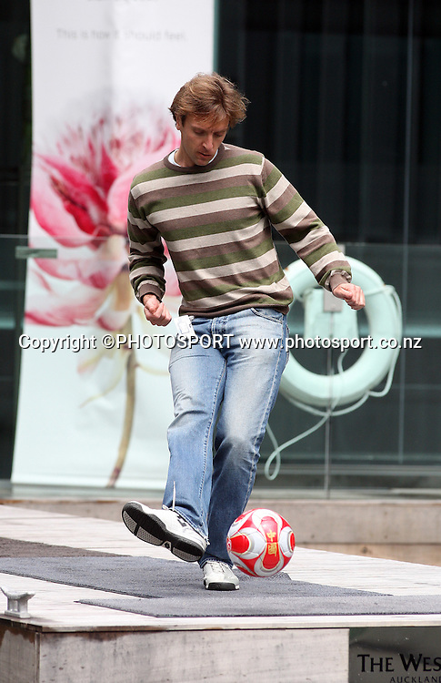 TVNZ's Michael Burgess takes a shot at goal off the pontoon at the Westin Hotel. Press Conference to announce the Oceania All Stars team to play the LA Galaxy at Mt Smart Stadium on December 6 2008. Westin Hotel, Auckland, Thursday 23 October 2008. Photo: Andrew Cornaga/PHOTOSPORT