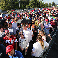 Thousands of republicans pack the entry of The Landers Center in Southaven for Tuesday's Republican rally with President Donald Trump.