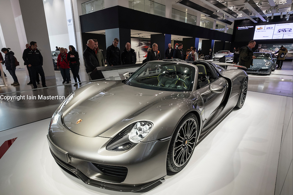 Porsche 918 Spyder hybrid car on display at Volkswagen DRIVE Forum on Unter den linden in Berlin Germany