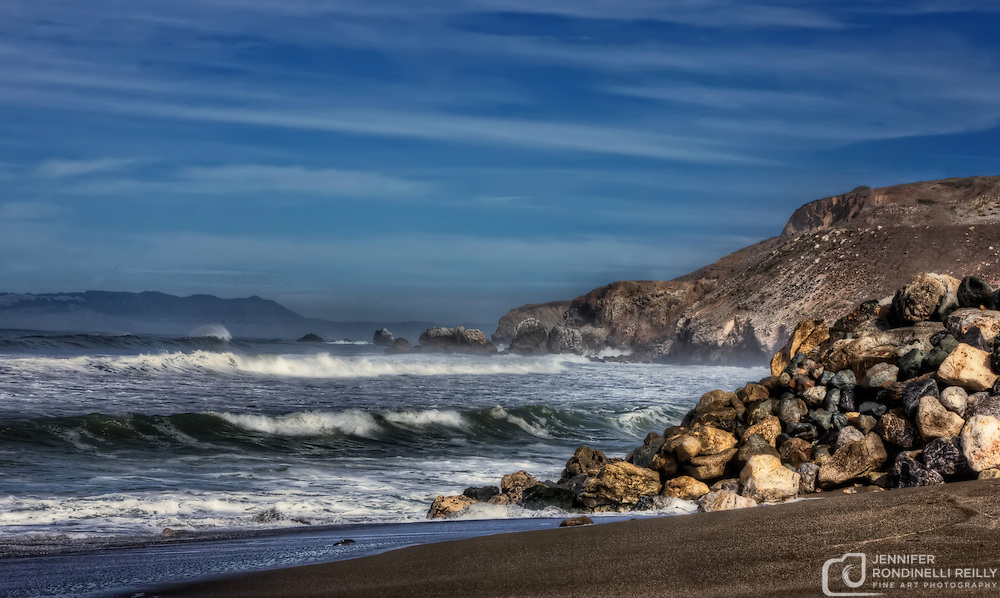 Pacific Ocean waves crashing on Rockaway Beach in Pacifica, CA. Photo by Jennifer Rondinelli Reilly.