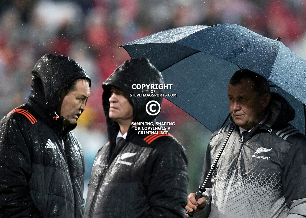 Steve Hansen &amp; Grant Fox during game 9 of the British and Irish Lions 2017 Tour of New Zealand, the second Test match between  The All Blacks and British and Irish Lions, Westpac Stadium, Wellington, Saturday 1st July 2017<br /> (Photo by Kevin Booth Steve Haag Sports)<br /> <br /> Images for social media must have consent from Steve Haag