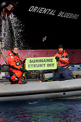 SOUTHERN OCEAN ESPERANZA 22JAN08 - Greenpeace activists highlight Surinam's support for Japan's whaling programme as the fleet's factory ship Nisshin Maru refuels from the supply vessel Oriental Bluebird in the Southern Ocean Whale Sanctuary. The Panama-registered Oriental Bluebird is illegally operating as part of the whaling fleet in Antarctic waters...jre/Photo by Jiri Rezac..© Jiri Rezac 2008..Contact: +44 (0) 7050 110 417.Mobile:  +44 (0) 7801 337 683.Office:  +44 (0) 20 8968 9635..Email:   jiri@jirirezac.com.Web:    www.jirirezac.com..© All images Jiri Rezac 2008 - All rights reserved.