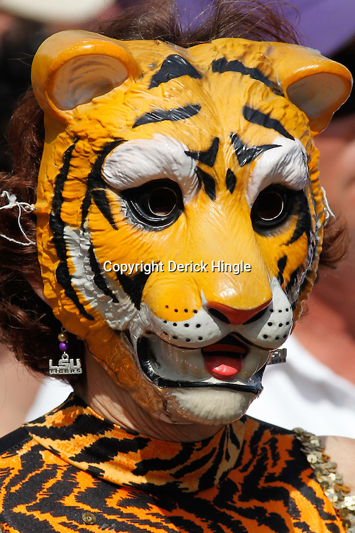 October 22, 2011; Baton Rouge, LA, USA;  A LSU Tigers fan outside prior to kickoff of a game between the LSU Tigers and the Auburn Tigers at Tiger Stadium.  Mandatory Credit: Derick E. Hingle-US PRESSWIRE / © Derick E. Hingle 2011