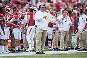 FAYETTEVILLE, AR - SEPTEMBER 5:  Head Coach Bret Bielema of the Arkansas Razorbacks on the sidelines during a game against the UTEP Miners at Razorback Stadium on September 5, 2015 in Fayetteville, Arkansas.  The Razorbacks defeated the Miners 48-13.  (Photo by Wesley Hitt/Getty Images) *** Local Caption *** Bret Bielema