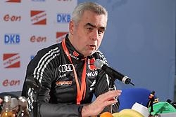 04.01.2012, DKB-Ski-ARENA, Oberhof, GER, E.ON IBU Weltcup Biathlon 2012,  Pressekonferenz, im Bild Trainer Frauen Uwe Müssiggang (GER) // during during press conference of E.ON IBU World Cup Biathlon, Thüringen, Germany on 2012/01/04. EXPA Pictures © 2012, PhotoCredit: EXPA/ nph/ Hessland..***** ATTENTION - OUT OF GER, CRO *****