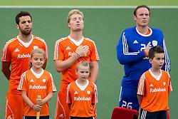 THE HAGUE - Rabobank Hockey World Cup 2014 - 2014-06-10 - MEN - NEW ZEALAND - THE NETHERLANDS -  vlnr Valentin VERGA, Klaas VERMEULEN, Pirmin BLAAK (GK).<br /> Copyright: Willem Vernes