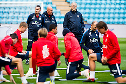 October 10, 2018 - Oslo, NORWAY - 181010 Per Joar Hansen, assistant coach of Norway, Nils Johan Semb, sports director of Norway, and Lars Lagerbäck, head coach of Norway, during a training session on October 10, 2018 in Oslo..Photo: Jon Olav Nesvold / BILDBYRÃ…N / kod JE / 160323 (Credit Image: © Jon Olav Nesvold/Bildbyran via ZUMA Press)