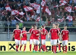 31.05.2016, Woerthersee Stadion, Klagenfurt, AUT, Testspiel, Oesterreich vs Malta, im Bild Torjubel Österreich, v.l. Martin Hinteregger (AUT), Zlatko Junuzovic (AUT), Aleksandar Dragovic (AUT), Julian Baumgartlinger (AUT), Florian Klein (AUT), Marko Arnautovic (AUT), Markus Suttner (AUT) // Goal celebration Austria f.l.t.r. Martin Hinteregger (AUT), Zlatko Junuzovic (AUT), Aleksandar Dragovic (AUT), Julian Baumgartlinger (AUT), Florian Klein (AUT), Marko Arnautovic (AUT), Markus Suttner (AUT) during the International Friendly Match between Austria and Malta at the Woerthersee Stadion in Klagenfurt, Austria on 2016/05/31. EXPA Pictures © 2016, PhotoCredit: EXPA/ Johann Groder