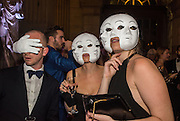 ROSS CHALMERS; INDIA ALEXANDER; BELLA BLENKINSOPP; Ball at to celebrateBlanche Howard's 21st and  George Howard's 30th  birthday. Dress code: Black Tie with a touch of Surrealism. Castle Howard. Yorkshire. 14 November 2015