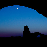 Moon at sunrise in Arches Nat'l Park