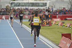 October 11, 2018 - Buenos Aires, Buenos Aires, Argentina - OSCAR CHELIMO of Uganda leads the field during the Men's 3000m Stage 1 on Day 5 of the Buenos Aires 2018 Youth Olympic Games at the Olympic Park. (Credit Image: © Patricio Murphy/ZUMA Wire)