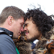 Ronan O'Gara receives a traditional Maori welcome as the Irish Rugby Team arrive at Queenstown airport for the IRB Rugby World Cup 2011, Queenstown, New Zealand, 1st September 2011. Photo Tim Clayton...