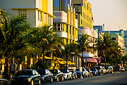 View down Ocean Drive and the art deco buildings of South Beach Miami Florida