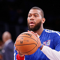 17 November 2013:  Detroit Pistons power forward Greg Monroe (10) warms up prior to the Los Angeles Lakers 114-99 victory over the Detroit Pistons at the Staples Center, Los Angeles, California, USA.