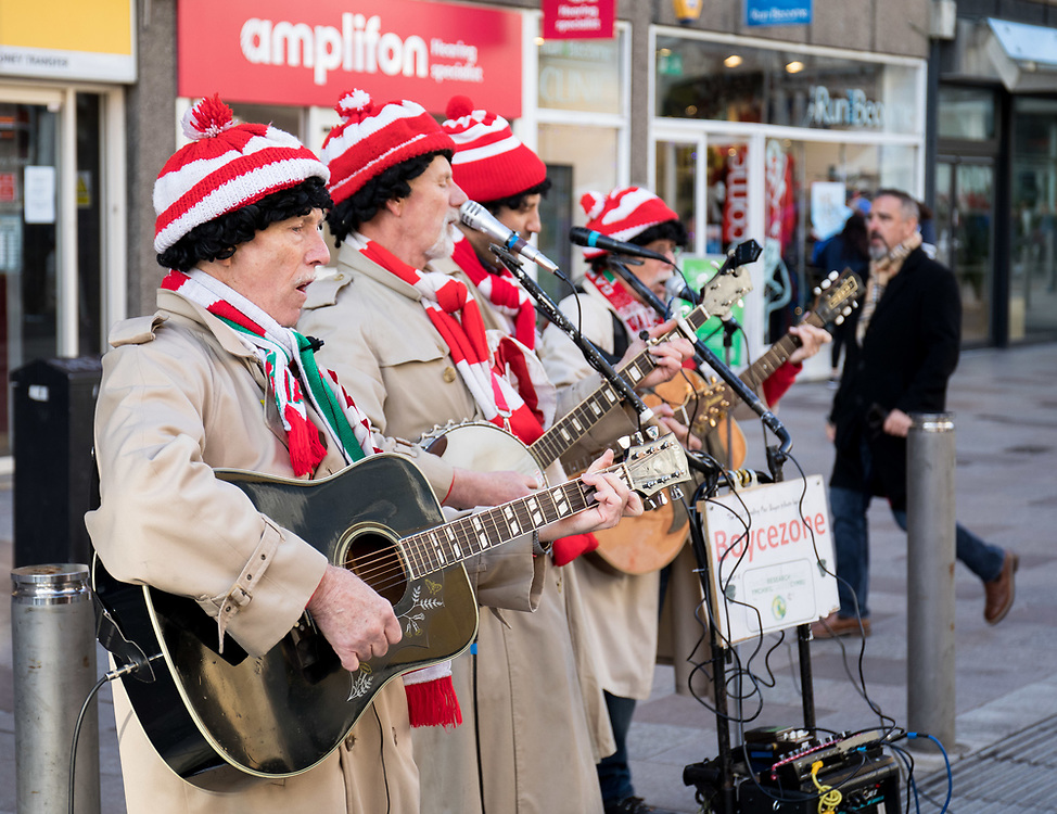Boycezone entertaining the fans outside of the stadium<br /> <br /> Photographer Simon King/Replay Images<br /> <br /> Under Armour Series - Wales v Tonga - Saturday 17th November 2018 - Principality Stadium - Cardiff<br /> <br /> World Copyright © Replay Images . All rights reserved. info@replayimages.co.uk - http://replayimages.co.uk