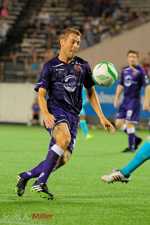 Orlando City Lions midfielder Freddie Braun (16) in action during a USL Pro soccer game against the Seattle Sounders at the Citrus Bowl on Aug. 11, 2013 in Orlando, Florida. <br /> <br /> &copy;2013 Scott A. Miller