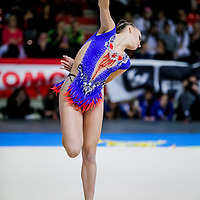PADUA, ITALY - NOVEMBER 12 2016: Veronica Bertolini of San Giorgio Desio performs with hoop at the italian national rhythmic gymnastic championship. Her score in the apparatus is 18,150. Her team's score is 103,450 and ended up in first position.<br /> #aspettandolaSerieAdiritmica<br /> #ginnasticaritmica #rhythmicgymnastic #gymnast #sport #sportphotography
