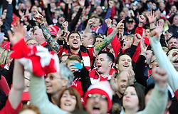 Bristol City fans celebrate at full time. - Photo mandatory by-line: Alex James/JMP - Mobile: 07966 386802 - 22/03/2015 - SPORT - Football - London - Wembley Stadium - Bristol City v Walsall - Johnstone Paint Trophy Final