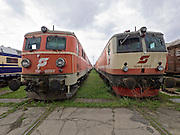 Strasshof, Austria.<br /> Opening of the season at Das Heizhaus - Eisenbahnmuseum Strasshof, Lower Austria's newly designated competence center for railway museum activities. Electric locomotives ÖBB 1110.023-7 (1956-1961) and 1044.501-3 (1976-1995).