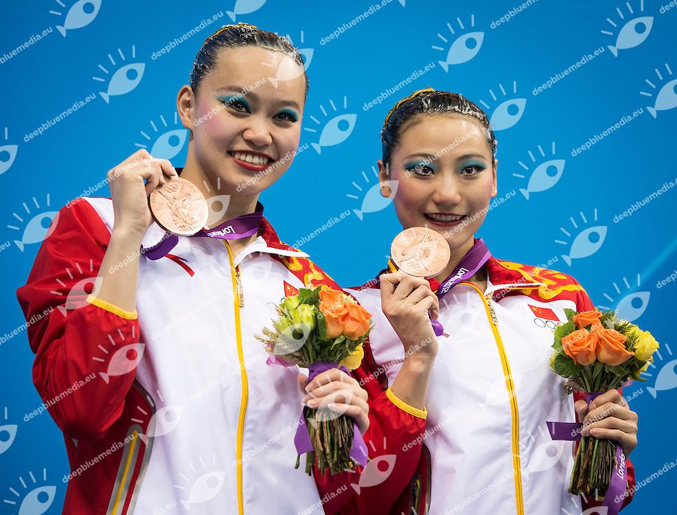 HUANG Xuechen, LIU Ou China (Bronze Medal).Synchronized Swimming duet final podium.London 2012 Olympics - Olimpiadi Londra 2012.day 12 Aug.7.Photo G.Scala/Deepbluemedia.eu/Insidefoto