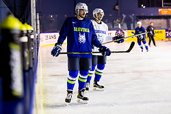 Jurij Repe of Slovenia and Ales Kranjc of Slovenia during practice session of Team Slovenia at the 2017 IIHF Men's World Championship, on May 11, 2017 in AccorHotels Arena in Paris, France. Photo by Vid Ponikvar / Sportida