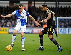 Ollie Clarke of Bristol Rovers is challenged by Liam Trotter of AFC Wimbledon - Mandatory by-line: Neil Brookman/JMP - 18/11/2017 - FOOTBALL - Memorial Stadium - Bristol, England - Bristol Rovers v AFC Wimbledon - Sky Bet League One