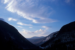 Crawford Notch in New Hampshire's White Mountains. From Elephant Head.  Winter. Early Morning. Carroll, NH