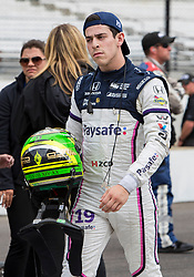 May 19, 2018 - Indianapolis, IN, U.S. - INDIANAPOLIS, IN - MAY 19: Zachary Claman De Melo, driver of the #19 Paysafe Honda, walks through the pits  following the completion of his qualifying run for the Indianapolis 500 on May 19, 2018 at the Indianapolis Motor Speedway in Indianapolis, IN. (Photo by Khris Hale/Icon Sportswire) (Credit Image: © Khris Hale/Icon SMI via ZUMA Press)