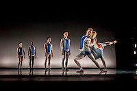 Buzzin' Round the Hunnisuccle, a Richard Alston choreography. This shot shows Liam Riddick, Nathan Goodman, Pierre Tappon, James Pett,  Andrew Macleman  and Hannah Kidd (left to right) performing in the World Premier of Richard Alston's Buzzing Round the Hunisuccle at the New Wimbledon Theatre on Saturday 9th February 2013