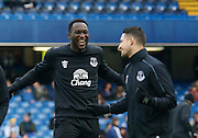 Everton Striker Romelu Lukaku laughing with Everton midfielder Kevin Mirallas during the warm up before the Barclays Premier League match between Chelsea and Everton at Stamford Bridge, London, England on 16 January 2016. Photo by Andy Walter.