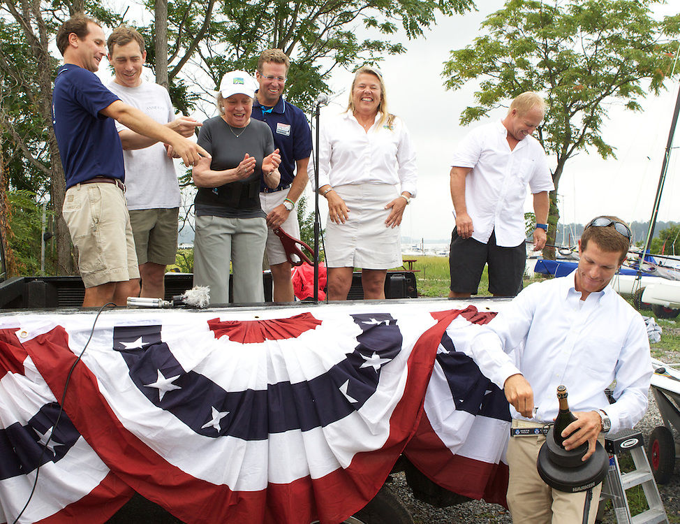 US Sailing Olympic Director Josh Adams, Bryan Lawrence, Betsy Lawrence, US Sailing Executive Director Jack Geirhart, Dawn Riley, Ralf Steitz aka the Bionic Baby at the Grand opening of the US Sailing Team Sperry Top-Sider Training Center at Oakcliff Sailing.  Editorial Use Only.  Photo by Molly Riley