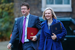 © Licensed to London News Pictures. 23/11/2016. London, UK. Business Secretary GREG CLARK and Justice Secretary LIZ TRUSS attend a cabinet meeting in Downing Street before the autumn statement announment on Wednesday, 23 November 2016. Photo credit: Tolga Akmen/LNP